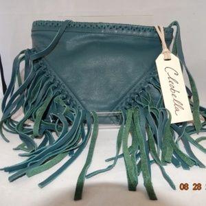cleobella-leather-fringe-green-clutch-NWT